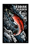 Kodiak, Alaska - Salmon Scratchboard Prints by  Lantern Press