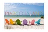 Marco Island, Florida - Colorful Beach Chairs Prints by  Lantern Press