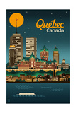 Quebec, Canada - Retro Skyline Print by  Lantern Press