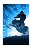 Lantern Press - Styalized Snowmobile Umělecké plakáty