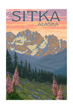 Sitka, Alaska - Bear and Cubs Spring Flowers Prints by  Lantern Press
