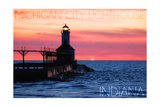 Indiana - Michigan City Lighthouse Prints by  Lantern Press