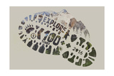 National Park Service Centennial - Footprint Prints by  Lantern Press