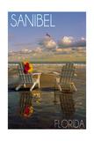 Sanibel, Florida - Adirondack Chairs on the Beach Prints by  Lantern Press