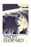 Snow Leopard - Lithograph Series Print by  Lantern Press