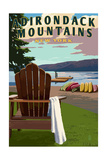 Adirondack Mountains, New York - Adirondack Chair and Lake Posters by  Lantern Press
