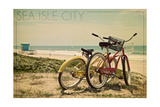 Sea Isle City, New Jersey - Bicycles and Beach Scene Art by  Lantern Press