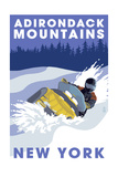 Adirondack Mountains, New York - Snowmobile Scene Prints by  Lantern Press
