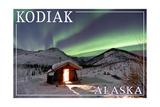 Kodiak, Alaska - Northern Lights and Cabin Print by  Lantern Press