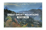 Great Smoky Mountains - Day - Rubber Stamp Print by  Lantern Press
