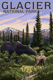 Glacier National Park - Moose and Baby Calf Print by  Lantern Press