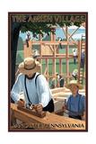 Lancaster County, Pennsylvania - the Amish Village - Barn Raising Scene Prints by  Lantern Press