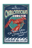 Prince Edward Island - Lobster Vintage Sign Prints by  Lantern Press