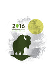National Park Service Centennial - Bison and Moon Print by  Lantern Press