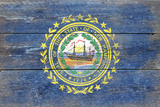 New Hampshire State Flag - Barnwood Painting Prints by  Lantern Press