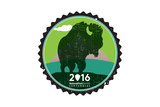 National Park Service Centennial - Bison Round Posters by  Lantern Press