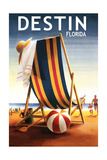 Destin, Florida - Beach Chair and Ball Art by  Lantern Press