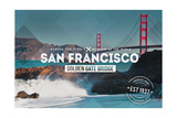 San Francisco, CA - Golden Gate Bridge and Waves - Stamp Posters by  Lantern Press