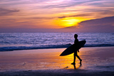 Surfer and Sunset Prints by  Lantern Press