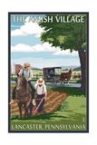 Lancaster County, Pennsylvania - Farm Scene - Barn Raising Scene Posters by  Lantern Press