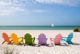 Colorful Beach Chairs Plakat av  Lantern Press