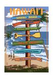 Waikiki Beach, Hawai'i - Signpost Destinations Prints by  Lantern Press
