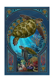 Sea Turtle - Art Nouveau Print van  Lantern Press