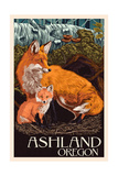 Ashland, Oregon - Fox and Kit - Letterpress Print by  Lantern Press