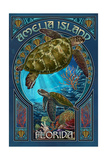 Amelia Island, Florida - Sea Turtle Art Nouveau Prints by  Lantern Press