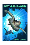 Pawleys Island, South Carolina - Sea Turtles Diving Posters by  Lantern Press