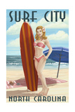 Surf City, North Carolina - Surfer Girl Pinup Posters by  Lantern Press