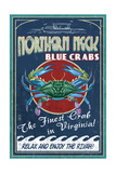 Northern Neck, Virginia - Blue Crab Vintage Sign Prints by  Lantern Press