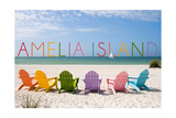 Amelia Island, Florida - Colorful Beach Chairs Poster by  Lantern Press