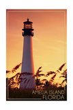 Amelia Island, Florida - Lighthouse and Seagrass Art by  Lantern Press