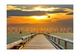 Southern Maryland - Pier at Sunset Posters by  Lantern Press
