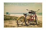 Virginia Beach, Virginia - Bicycles and Beach Scene Art by  Lantern Press
