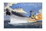USS Missouri - Side View Guns Prints by  Lantern Press