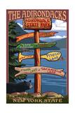 Adirondack, New York - Indian Lake Signpost Destinations Art by  Lantern Press