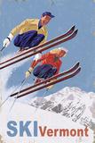Ski Vermont - Vintage Skiers Kunstdruck von  Lantern Press