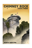 Chimney Rock State Park, North Carolina - Chimney Rock - Lithograph Style Print by  Lantern Press