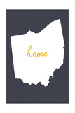 Ohio - Home State - Gray Prints by  Lantern Press