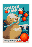 Golden Retriever - Retro Oranges Ad Print by  Lantern Press