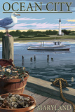 Ocean City, Maryland - Blue Crab and Oysters on Dock Print by  Lantern Press