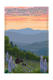 Great Smoky Mountains National Park - Bear and Spring Flowers Posters by  Lantern Press