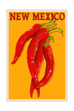 New Mexico - Red Chili Letterpress Prints by  Lantern Press