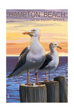 Hampton Beach, New Hampshire - Seagull Prints by  Lantern Press