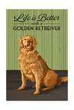 Golden Retreiver - Life is Better Posters by  Lantern Press
