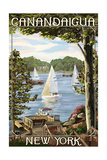 Canandaigua, New York - Lake View with Sailboats Art by  Lantern Press