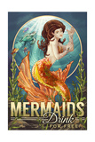 Mermaids Drink for Free Posters by  Lantern Press