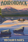 Adirondack Mountains, New York - Lake and Mountain View Posters by  Lantern Press
